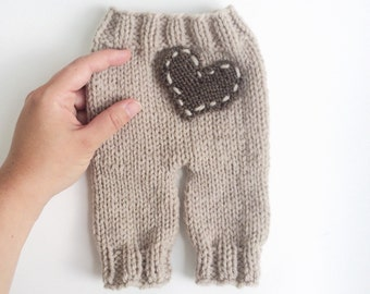 Newborn Pants Knit With Heart Knitted Beige and Brown Baby Photoprop Photography Prop Baby Shower Gift Pregnancy Gift