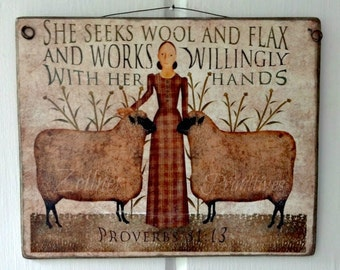 Primitive Folk Art Picture , Artwork By Beth Albert , Art Applied To Wood , Ready to display ,  Made in USA