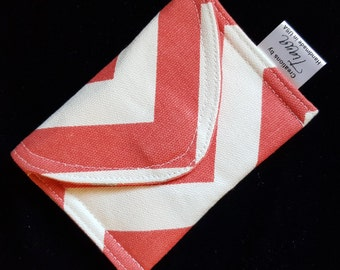 Coral chevron, Business Card Case/Pouch, Credit card holder, Gift card case, Small pouch, handmade