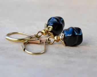 Black Dangle Earrings, Drop Earrings Small Black Earrings, Black Jewelry Leverback Earrings, Black Glass Earrings, Everyday Earrings UK Shop