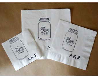 Rustic Wedding Napkins, Personalized Mason Jar Napkins, Mason Jar, set of 50, hand stamped date and monogram,Rush Order Available