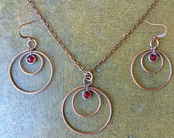 Red Hoop Earring and Necklace Set