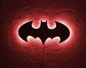 Batman LED Sign // Wall Art // Handmade from MDF Unique Bat Symbol Wall LED light // Universal current adapter // Free worldwide shipping