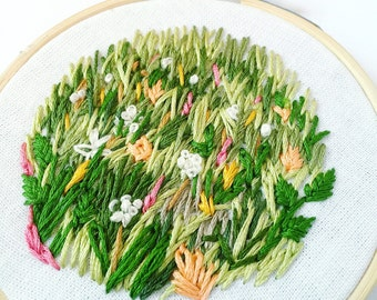 Field of Flowers Embroidered Home Decor, Embroidery Hoop Art, Nature Lover Gift, Gifts under 50