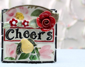 CHEERS, red rosses and pear, mosaic wall art, gift