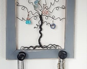 Jewelry Tree Frame Storage - Whimsical Necklace and Earring Wall Organizer Distressed Grey 12 inches - READY TO SHIP