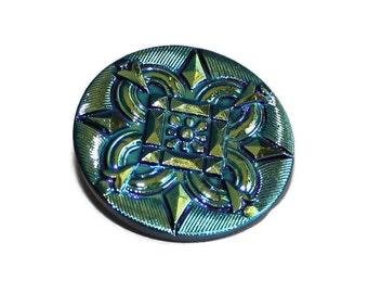 Czech Glass Button - 30mm - Glass Iridescent Button - Focal Button - 1 button (012)