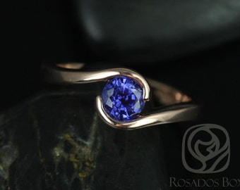 Vadim 5mm 14kt Rose Gold Round Sapphire Single Twist Engagement Ring (Other Metals and Stone Options Available)