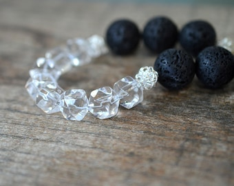 Chunky rock crystal necklace Clear crystal quartz necklace Nugget necklace Black lava rock Volcanic stone jewelry Black necklace