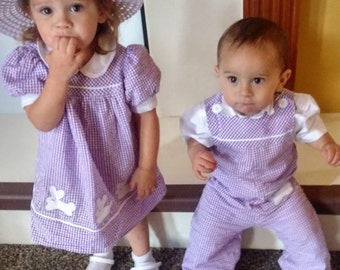 Toddlers brother sister Easter bunny outfits