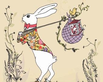 Nursery Wall Art Print Picnic Hare Rabbit Illustration Animal Drawing Sketch Neutral Brown Poster Nursery Decor Kids Room childrens bedroom
