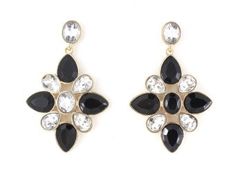 Gorgeous Gold-tone Crystal Black Plate Drop EARRINGS,B17