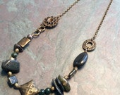 """Green Stone Necklace / Agate / Jasper / Antique Brass / Chunky / Stone / Bead / Chain - 24"""" long - N30"""