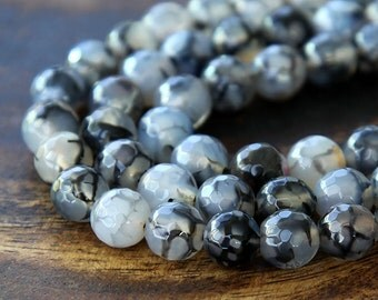 Dragon Veins Agate Beads, 8mm Faceted Round, 15 inch strand - eGR-AG20824-8