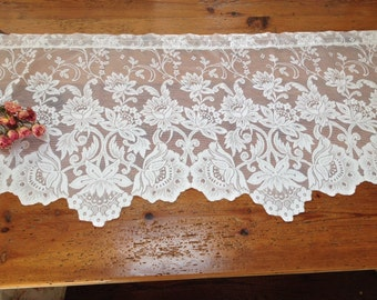 Vintage white shabby chic curtain vintage lace swag cottage white lace floral window valance by herminas cottage lace