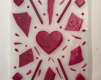 HEART DAZZLE Valentines Day NightLight Stained Glass Night Light