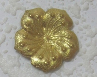 Detailed 23MM 5 Petal Flower Raw Brass Stamping, Jewelry Design, Making, Altered Art, Scrapbooking,
