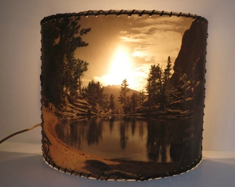 Vintage TV Lamp / Curved Fiberglass Shade / Mountain Scenery