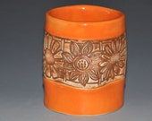 Orange  ceramic tumbler cup with brown flowers texture, fun to hold cup, Holidays gift, housewarming gift
