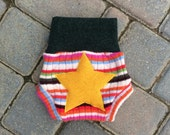 Size Small Upcycled Wool Soaker/Shorties/Diaper/Nappy Cover with Added Doubler in Wetzone - Girl Stripes with a Star Applique