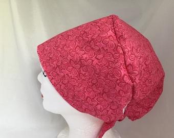 Scrub Hat Tie Back Pixie Style Pretty in Pink
