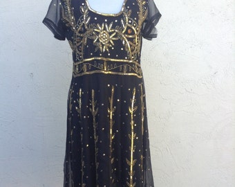 Vintage black sequin dress, gold hand beaded dress, party dress, indian design, cocktail dress, formal, winter party dress