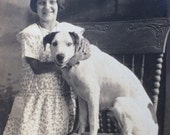 RESERVED Gooch Girl & Smiling Dog Vintage Real Photo Postcard RPPC Yellville Arkansas