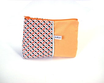 make up case pastel orange and scandinavian  style fabric-