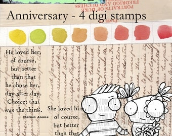 Anniversary - cute and quirky couple with quote - four digi stamp set