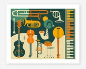 JUST JAZZ, Giclee Fine art Print, Mid Century Modern Pop-Art by Jazzberry Blue