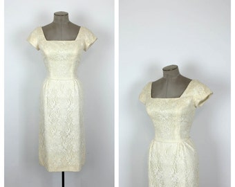 50s Fitted Cream Lace Wedding Dress • 1950s Formal Ivory Wiggle Dress • Cap Sleeve Bridal Dress • Small