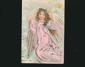 antique paper, vintage ephemera, old postcard, Christmas angel, glitter, pink