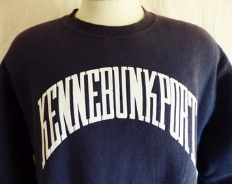 vintage 80's 90's Kennebunkport Maine navy blue reverse weave fleece graphic sweatshirt crew neck white logo new england souvenir large medi