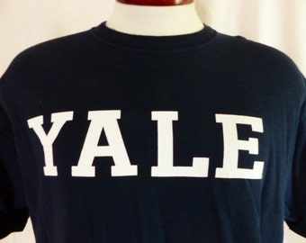 go bulldogs vintage 90's Yale University NCAA college sports navy blue graphic t-shirt unisex white block letter logo ivy league crew xl