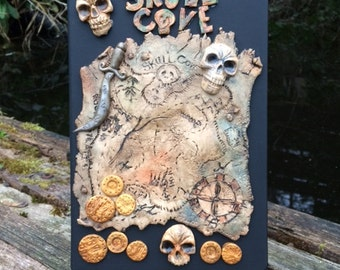 Skull Cove Pirate A5, 96 pages Journal/Notebook - Pirates, Treasure, Skulls, Map, Cutlass, Polymer Clay