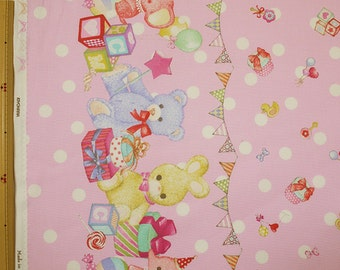 Classical and Modern Japanese Fabric  / Stuffed Animal Oxford Fabric Pink - 50cm x 110cm