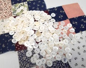 Small White Shell Buttons - Vintage Iridescent Mother of Pearl Buttons