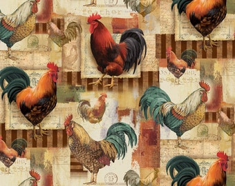 Fat Quarter Animal Adventure Roosters Afternoon 100% Cotton Quilting Fabric