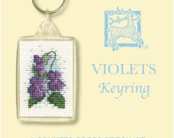 Violets Keyring Cross Stitch Kit By Textile Heritage Floral