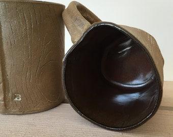 Coffee Mugs, Handmade Ceramic, Wood Grain, Faux Bois Mugs