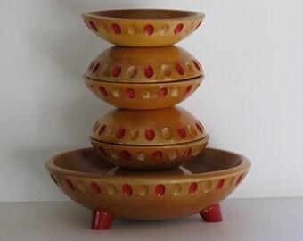 30's WOOD SALAD BOWL Set/Munising Hard Wood Salad Bowl Set/Footed Salad Bowl/8 Piece Salad Set/Antique Wood Salad Bowl Set/Vintage Tableware