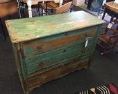 RESERVED  Vintage dresser chippy, shabby green dresser, 3 drawer