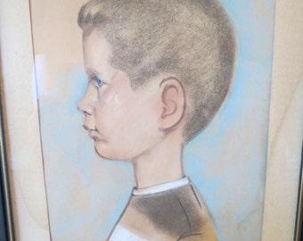 MCM 1950's -60's framed portrait of a boy. soft pastel. Child portrait.