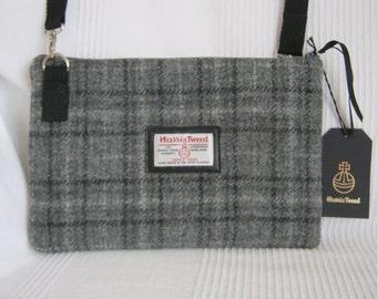 Grey check Harris Tweed  cross body bag