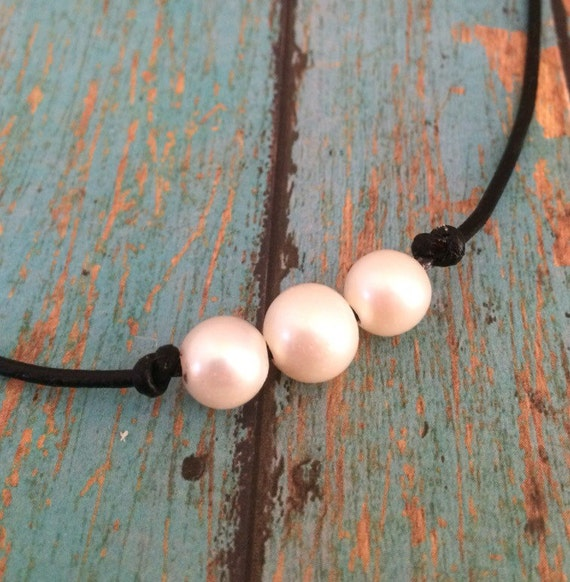 Triple Pearl and Leather Knot Choker Necklace, AAA Freshwater Pearl Teenage and Adult Style Knotted Leather Pearl Choker, Real Pearls