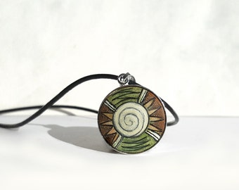 Hand Painted Charm, Sterling Silver Wood Art Pendant, Tribal Painting, Necklace Leather Cord, Earthy Green Brown, Unique Silver Jewelry
