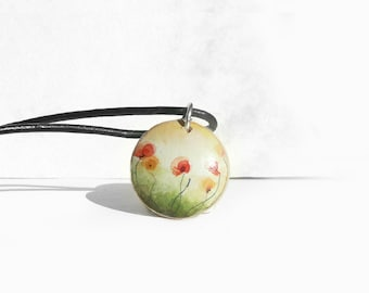 Small Pendant Poppies, Wood Crafts, Hand Painted Pendant, Leather Necklace Cord, Poppy Art, Necklace Pendant, Wooden Jewelry by Artdora