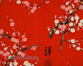 Shabby Chic Plum Blossom Flower Fabric, Pink White Plum Blossom On Red Black Green Blue for Kimono Clutch Bag - A Half yard
