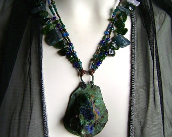 Earth From Space, azurite, stone necklace, kyanite beads, chrome diopside jewelry, ooak organic hippie, verdigris patina, AnvilArtifacts
