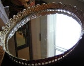 Vintage mirror tray filigree edge jewelry lipstick 9x14 wedding table centerpiece metal gold and white tray oval shaped